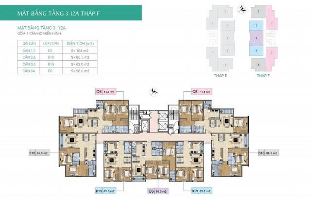 Mặt bằng tầng 3-12A- Tòa F- Chung cư Xuân Phương Residence
