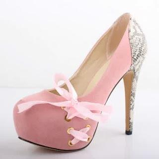 Sepatu High Heels Wanita Warna Pink Motif 2016