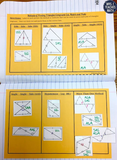 Triangle Congruence Activity for Interactive Notebooks