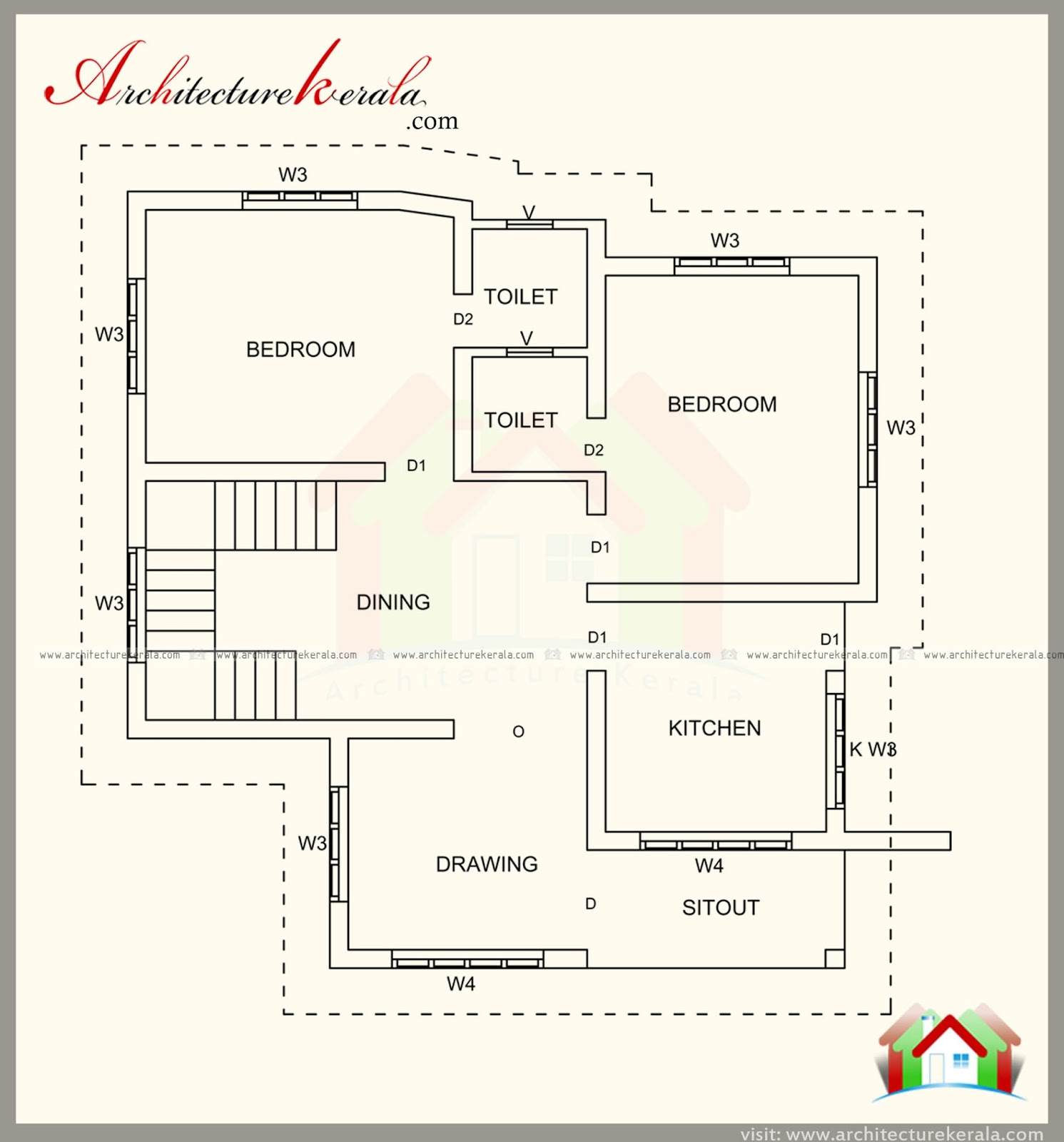 1500 square feet house plan and contemporary style for 1500 sq ft house plans kerala