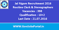 Jal Nigam Recruitment 2016 for 398 Routine Clerk & Stenographers Apply Online Here
