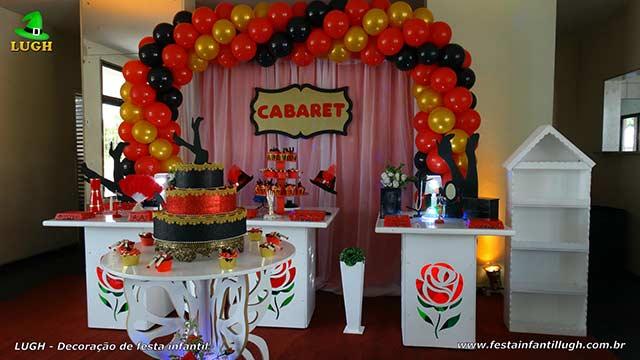 Decoração de mesa de aniversário tema Cabaret(Cabaré) para festa feminina