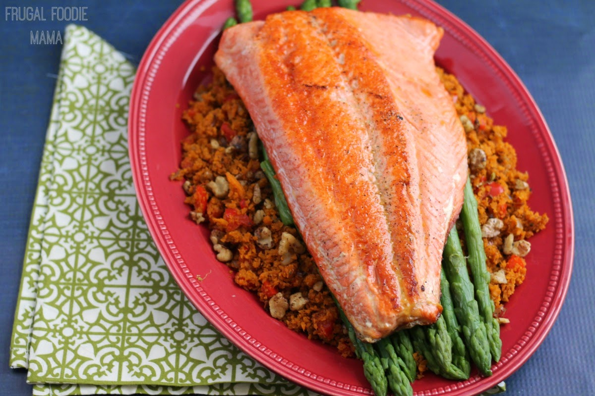 "Pan Seared Salmon with Asparagus & Sweet Potato ""Rice""- a heart healthy & flavorful dinner recipe"