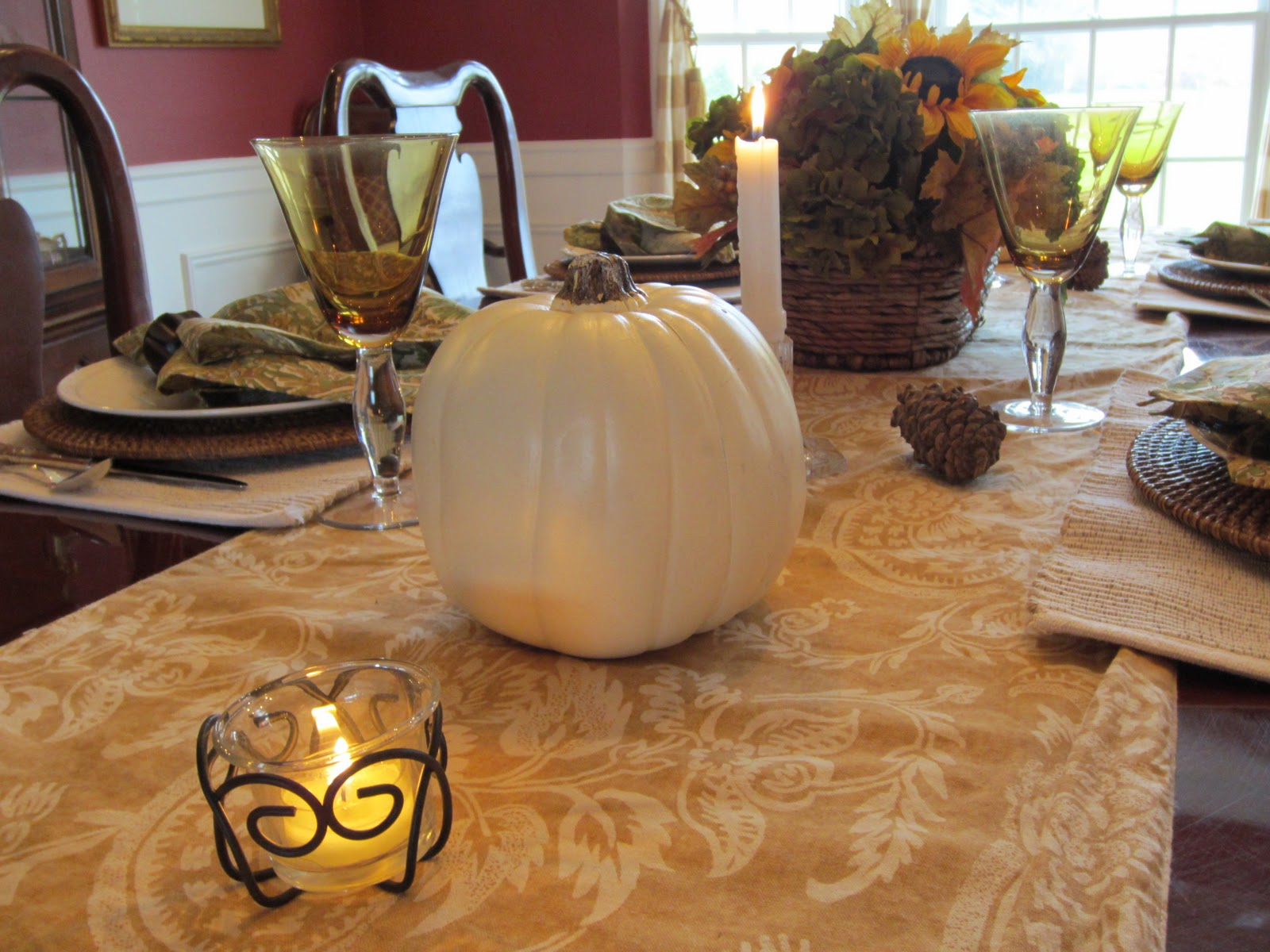 Thanksgiving Table with faux white pumpkins