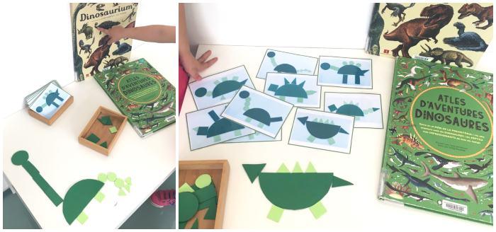 actividad infantil creativa crear dinosaurios con formas geométricas