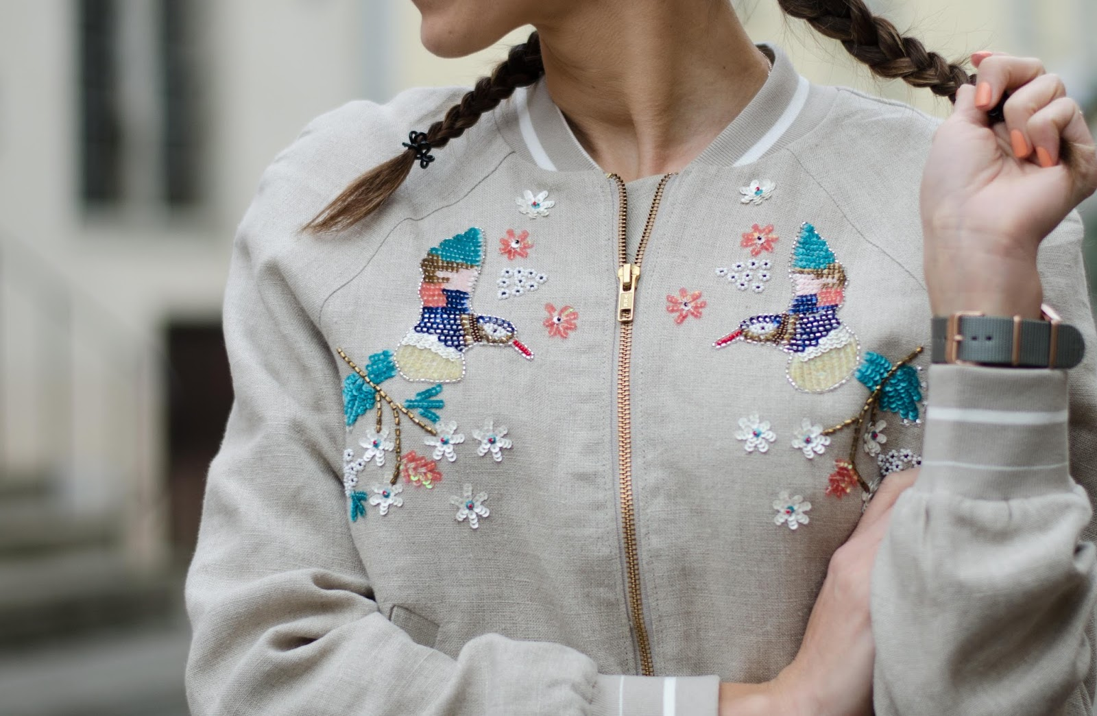 hm embellished linen bomber jacket spring 2016 collection