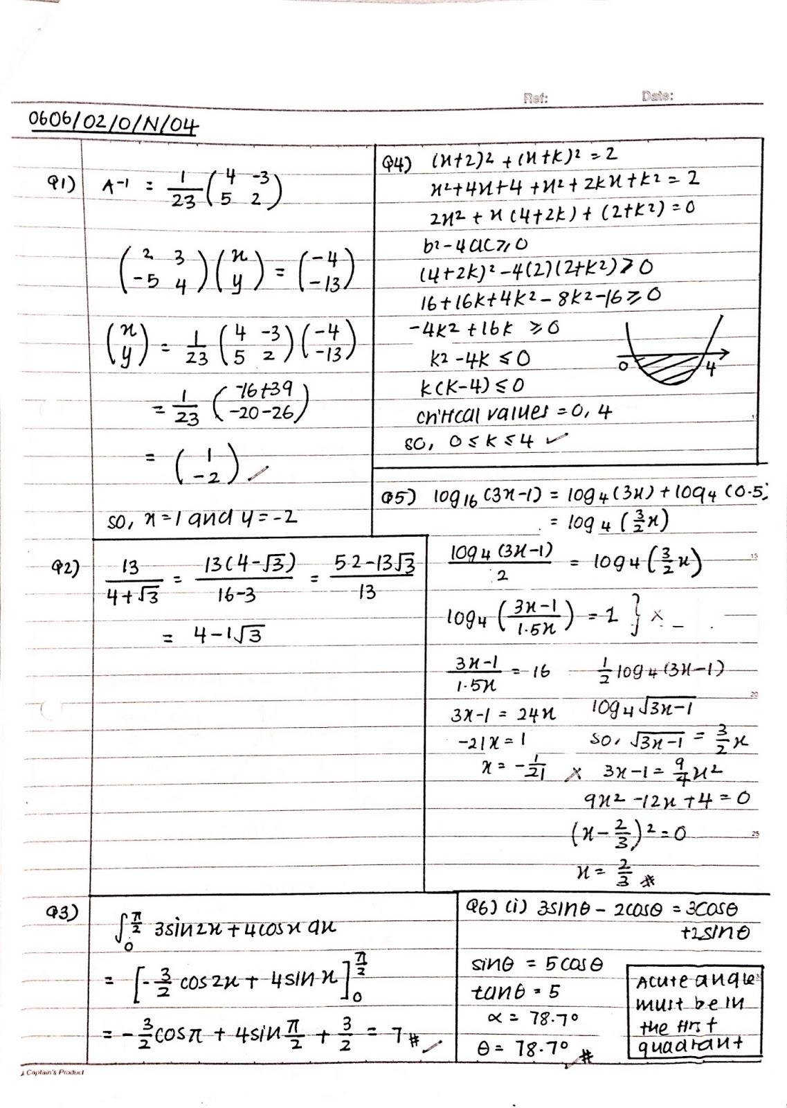IGCSE Add Maths Working Answer [0606/02] Paper 2 2004 (Oct