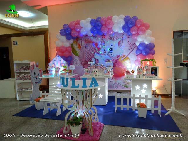 Decoração Gata Marie para festa de aniversário infantil realizado na Barra da Tijuca RJ