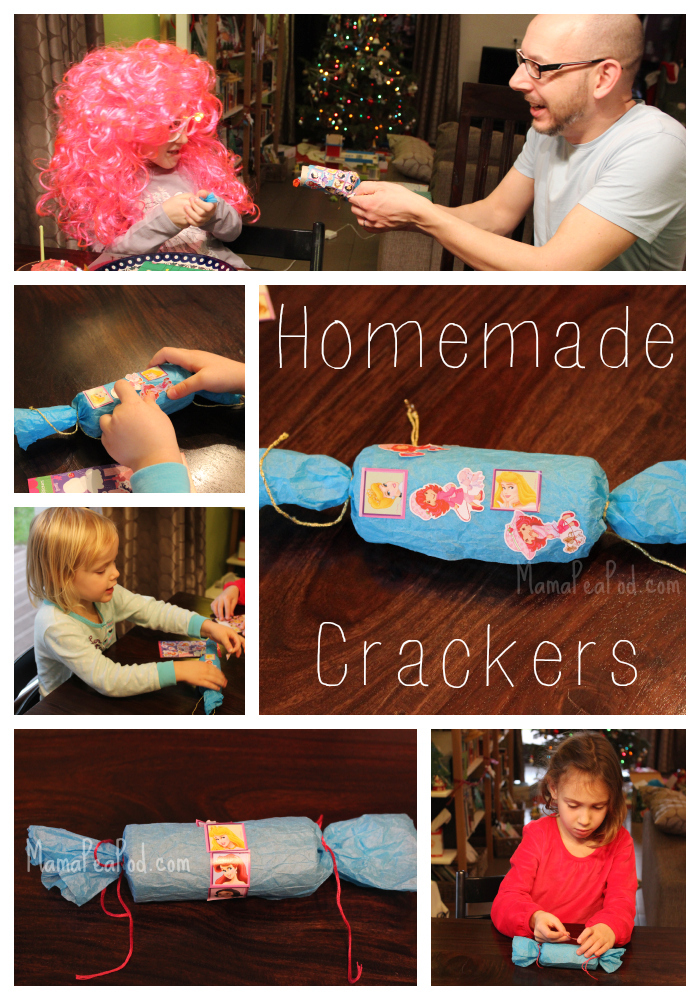 homemade DIY christmas crackers for new years eve with kids