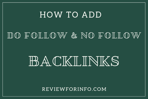 How to add Do follow and No follow Backlinks