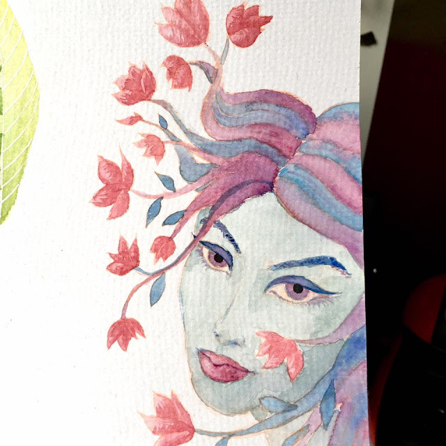 watercolor sketch of a girl with flowers coming out of her hair