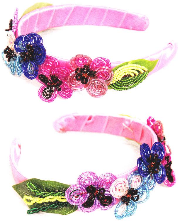 Обруч для волос из бисера  Wrap hair beads