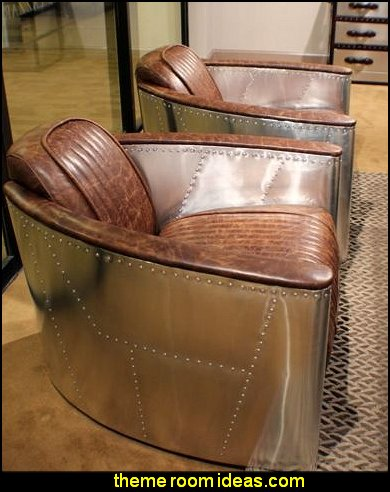 Club arm Chair aviator Top Grain Leather vintage brown Aircraft style