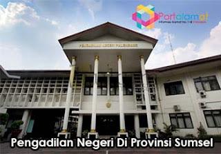 Alamat kantor Pengadilan Negeri di Provinsi Sumatera Selatan