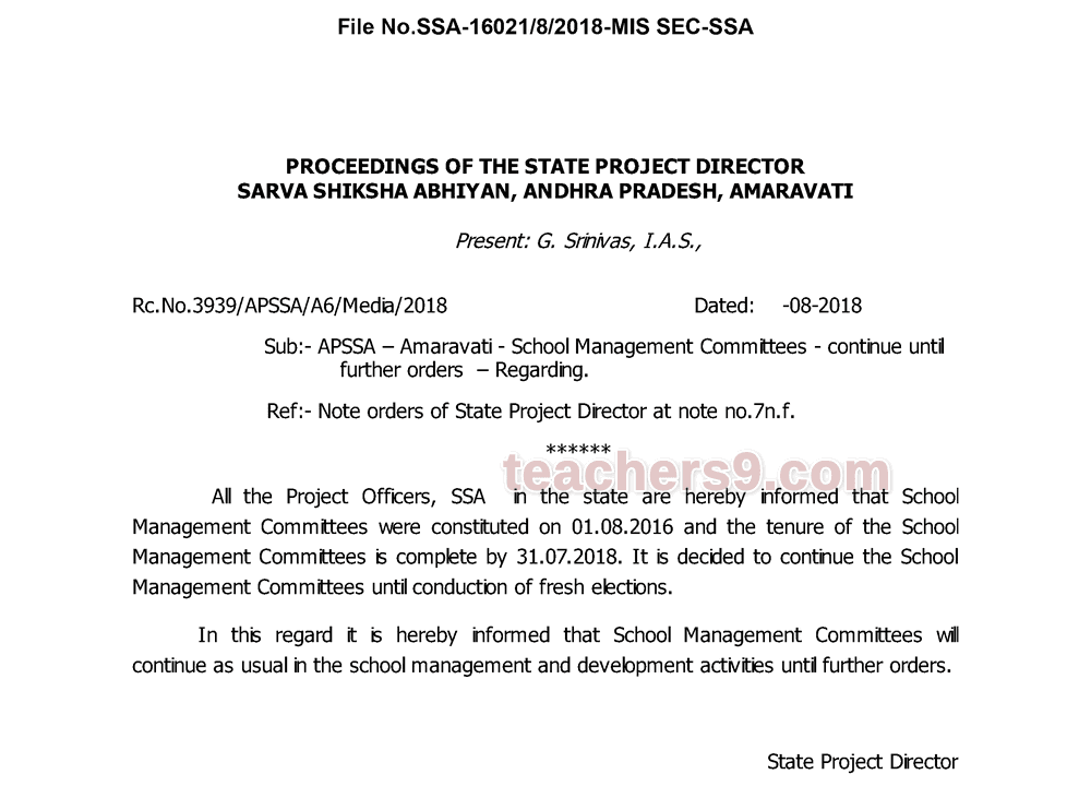 Rc.No.3939 - School Management Committees - continue until further orders