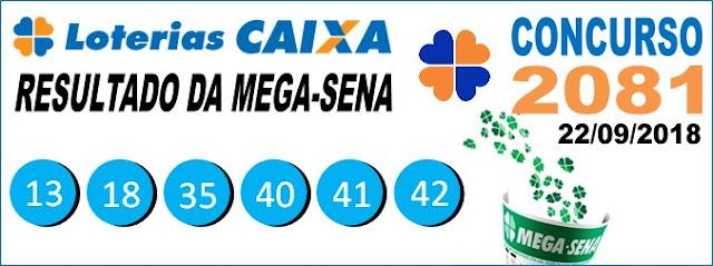 Resultado da Mega Sena concurso 2081 de 22/09/2018 (Imagem: Informe Notícias)