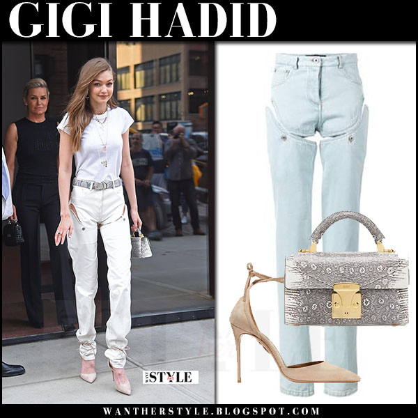 Gigi Hadid in white top and cutout convertible pants y/project what she wore june 10 2017