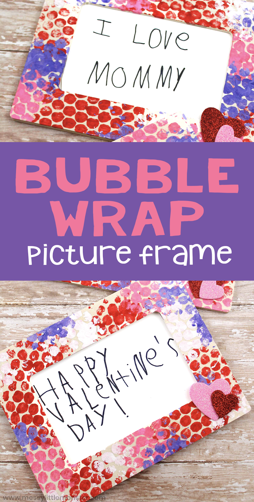 Bubble wrap painting picture frame. Toddlers and preschoolers will love bubble wrap painting. This is such a fun painting technique for kids. A handmade frame makes the perfect Valentines day craft or Mothers Day craft.