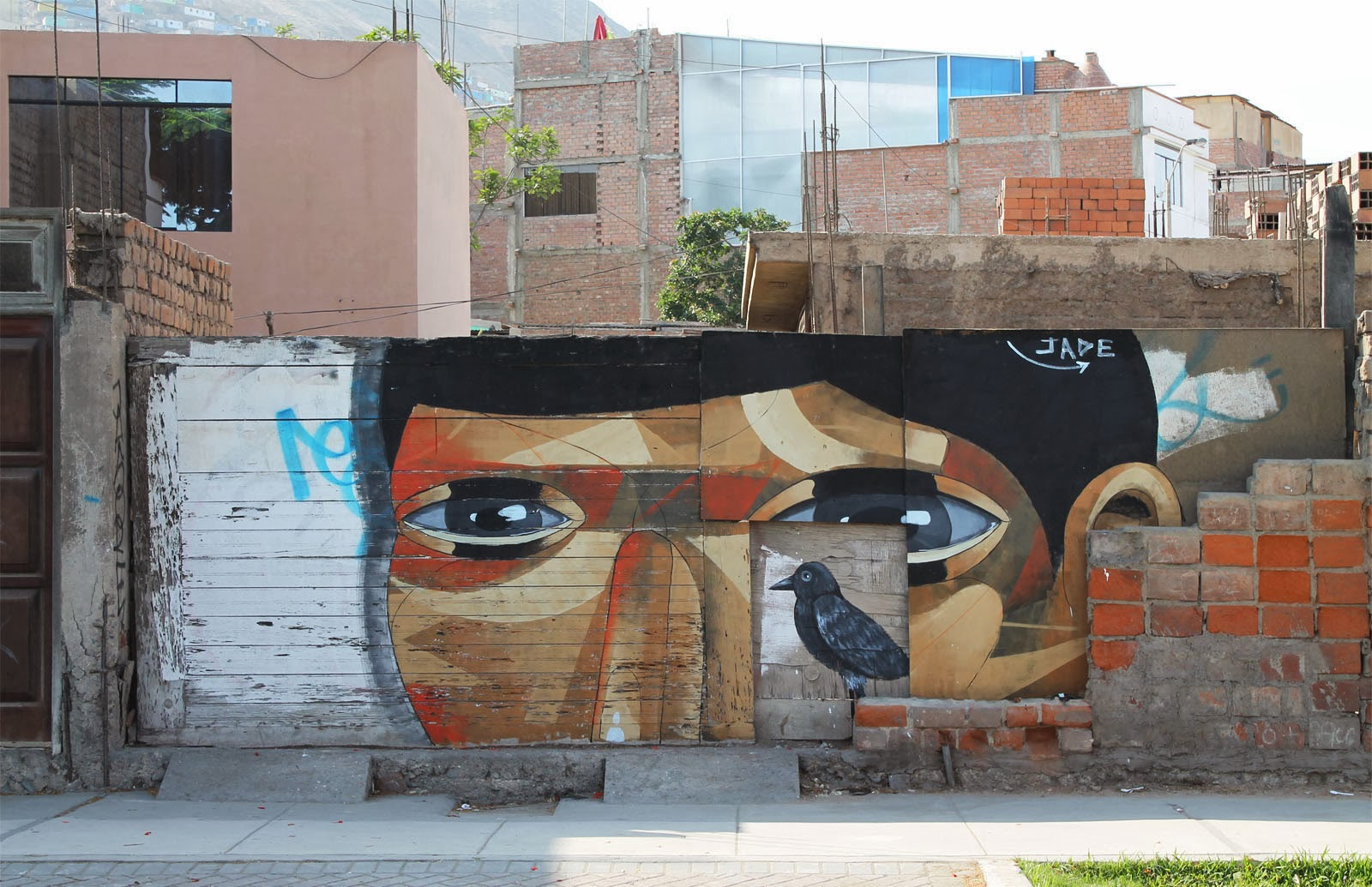 """""""The Host"""" a new street art piece by Peruvian artist JADE in the Chorillos district of Lima, Peru. 1"""