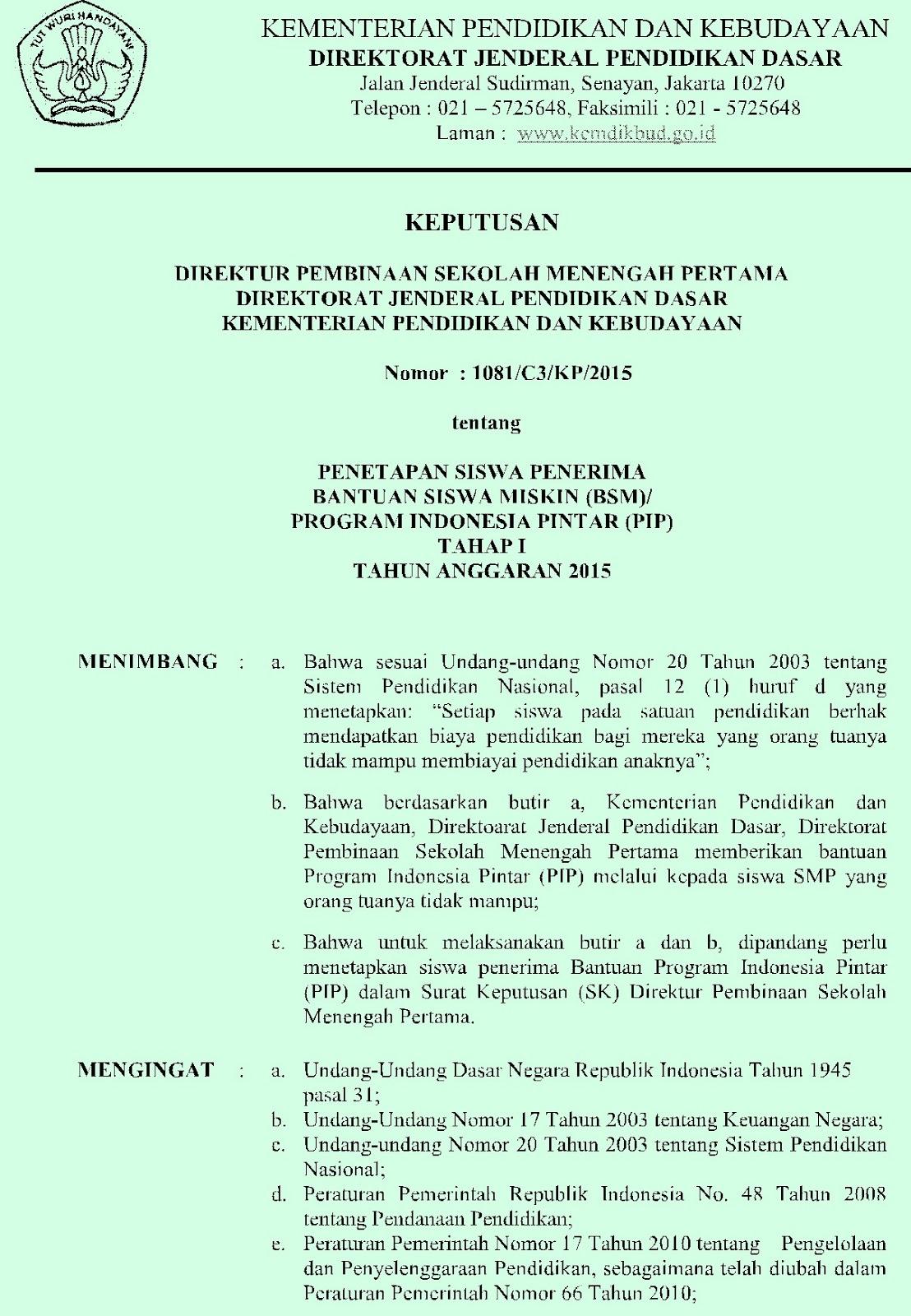 Download Sk Direktur Psmp Penetapan Siswa Penerima Bantuan Pip Kip Tahap I Tahun Anggaran 2015