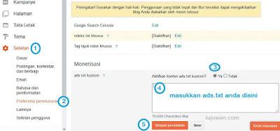 Cara aktivasi ads.txt di blogger