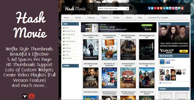 Hash Movie - Template Blogspot làm site Phim khá đẹp