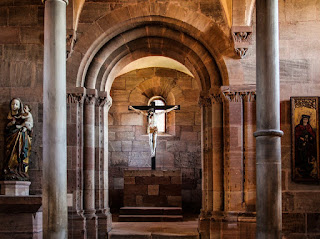 time travel, medieval chapel, chapel with crucifix, chapel with statue, the battle is o'er, blue bells Chronicles