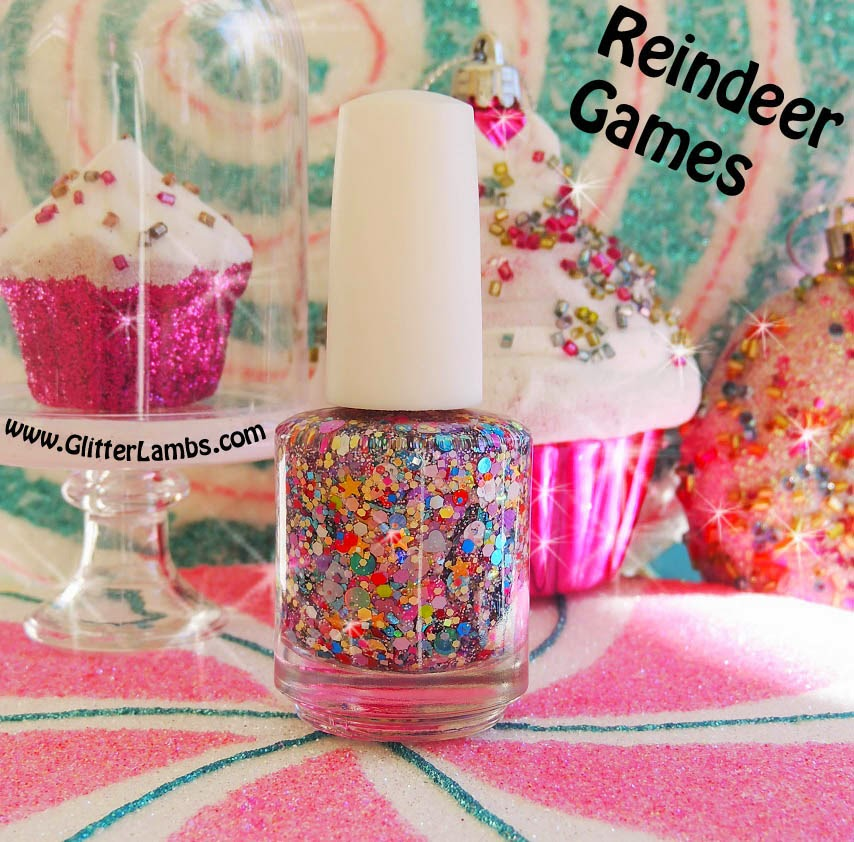 Christmas custom handmade glitter topper nail polishes for the holiday season. Tons of glitter shapes flowers, hearts, stars, circles, dots, holographic, iridescent, matte, shreds, square glitters.