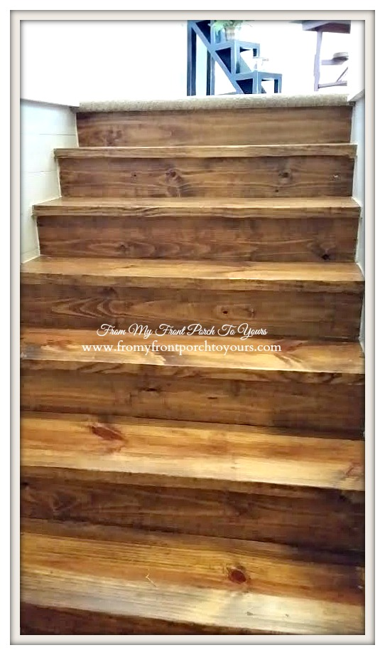 Texas Farmhouse- Pine Stairs-RoundTop Texas-Trendmaker Homes-From My Front Porch To Yours
