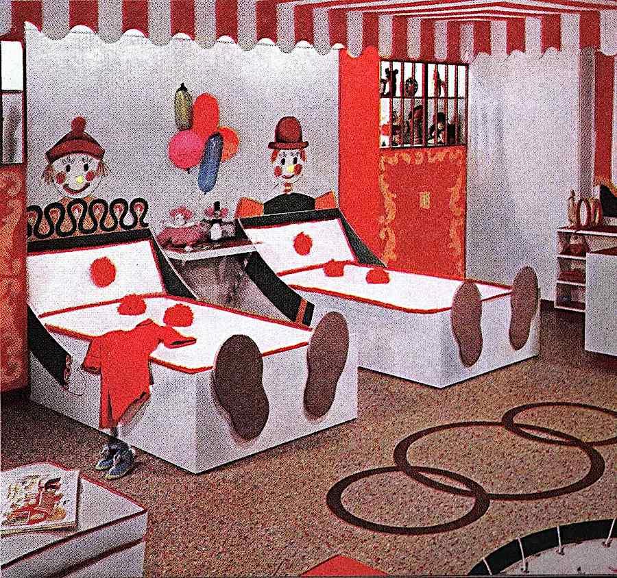 1955 children's clown beds, a color photograph