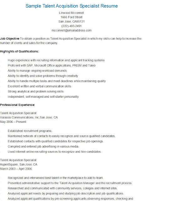 Resume Samples Sample Talent Acquisition Specialist Resume - Talent Specialist Sample Resume