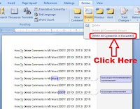 how to delete comments in microsoft word 2010