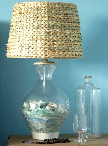 beach glass lamp filled