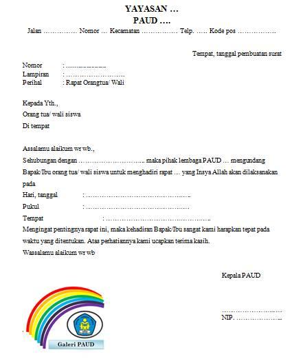 Surat undangan rapat orangtua wali siswa merupakan sebuah surat yang dibuat oleh lembaga p Geveducation:  Surat Undangan Rapat Orangtua Wali Siswa PAUD