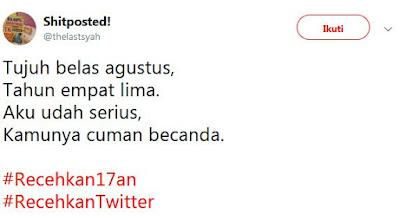 20 Cuitan Kocak 'Recehkan 17an' Ini Bikin Jomblo Histeris