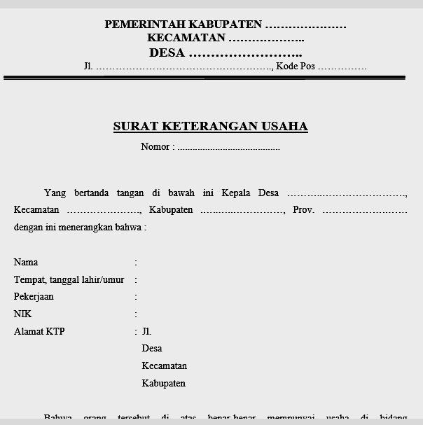 Contoh Surat Keterangan Usaha (SKU)