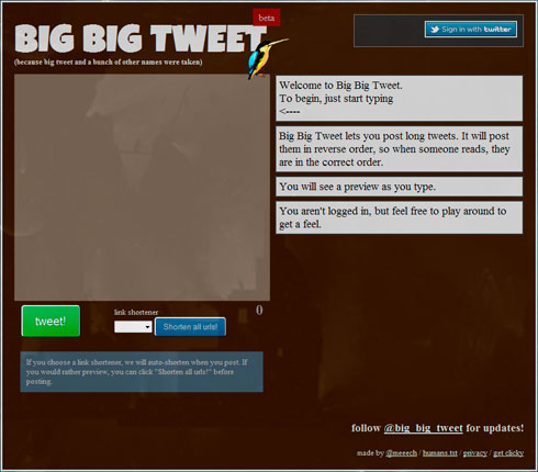 Divide tus tweets largos en 140 caracteres con Big Big Tweet