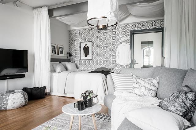 Amenajare în alb și gri într-un duplex de 46 m²