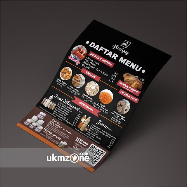 Desain menu A4 untuk UMKM / IKM Depok Aficelcay - UKM ZONE
