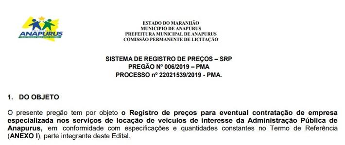 Prefeitura de Anapurus vai alugar 32 carros por quase 2 milhões de reais para as secretarias do município.