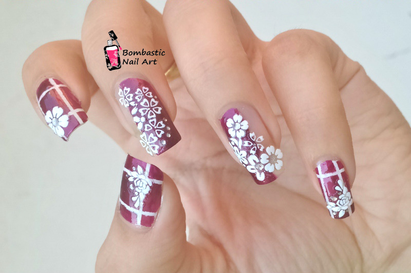 White 3D Flower Decals with Striping Tape Nail Art ...