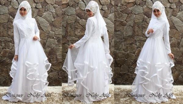 Desain Gaun Pengantin Muslimah 2015