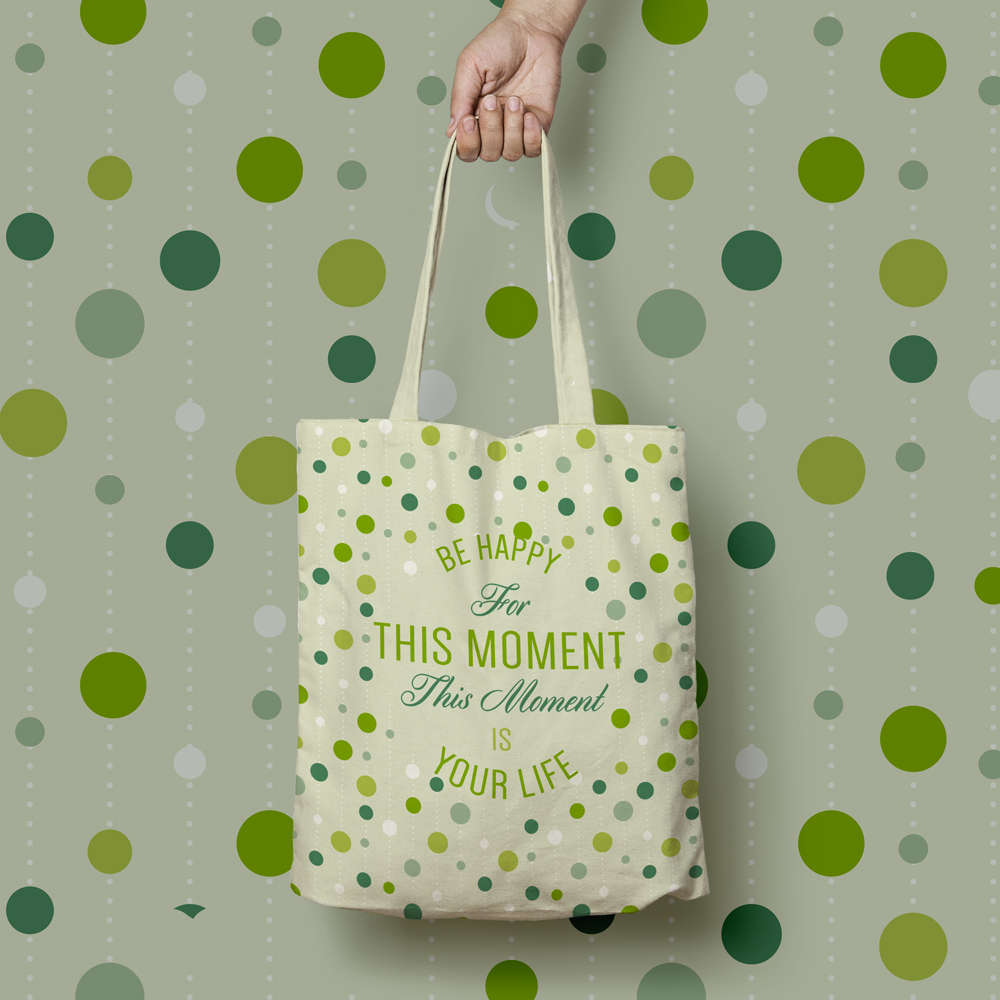Tote bag with cute pattern and nice quote