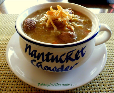 Crockpot Beef Shank Pea Soup, a thick, hearty winter soup. Simple to make, throw the ingredients in the crockpot and let it thicken.   Recipe developed by www.BakingInATornado.com   #recipe #soup
