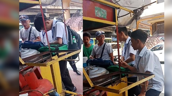 Sidewalk vendor teaching English to students along EDSA inspires netizens