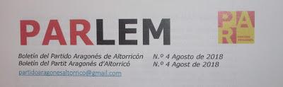 PARLEM - Boletín del Partit Aragonés d'Altorricó