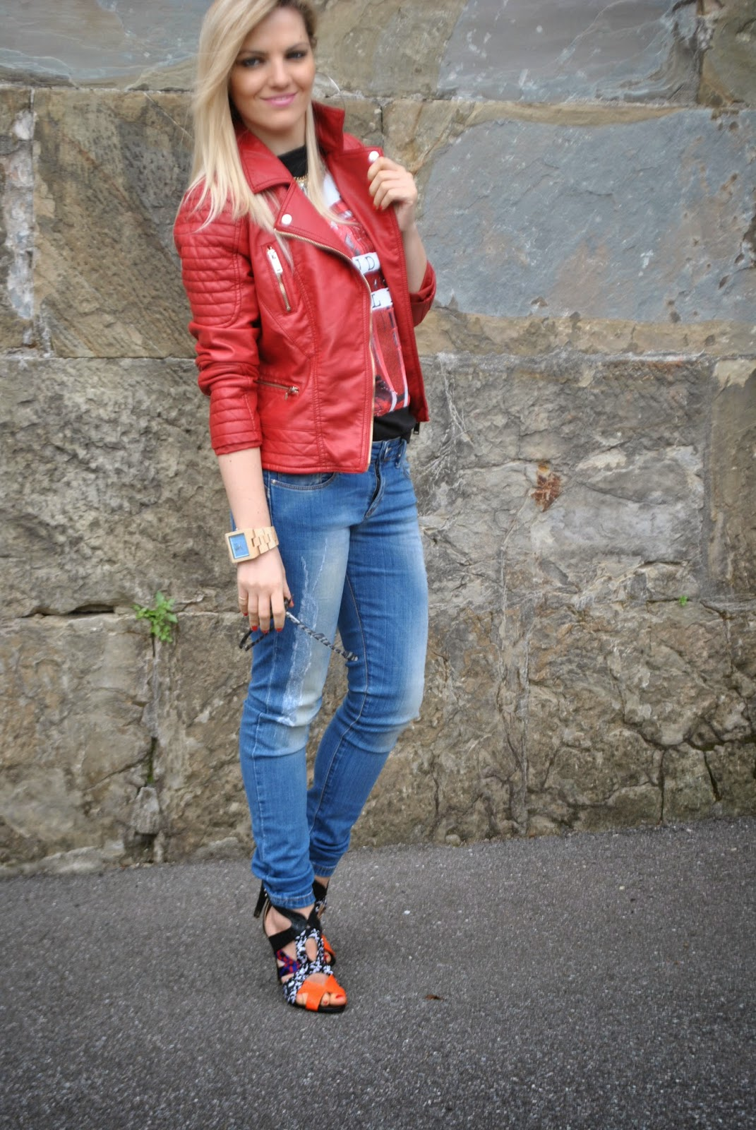 Estremamente Color-Block By FelyM.: OUTFT: JEANS SKINNY, HEELS AND RED LEATHER  KP38