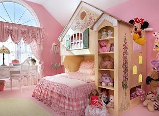 Dormitorio rosa para niña