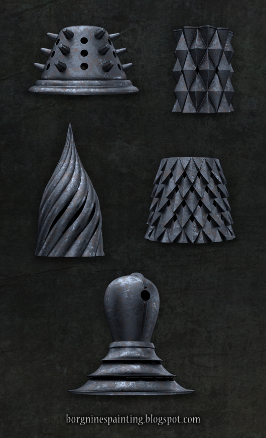 Examples of other Faceless helmets that I modelled and rendered in 3d software, dark and rusted on a dark-grey background.