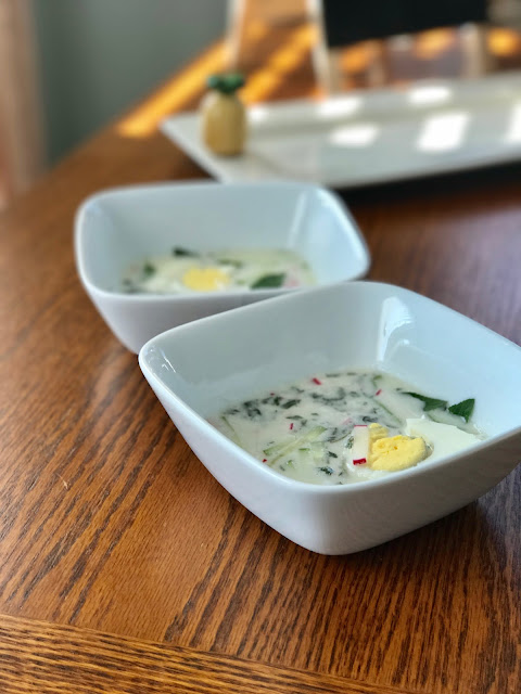 chilled coconut milk soup with herbs